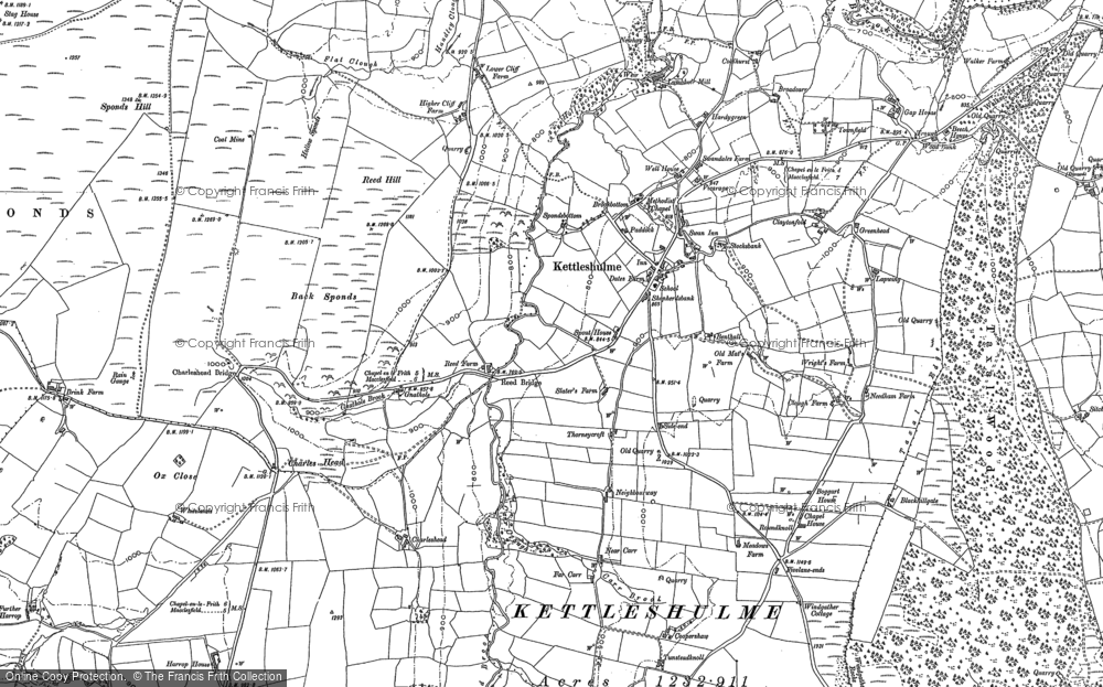 Old Map of Historic Map covering Todd Brook in 1907