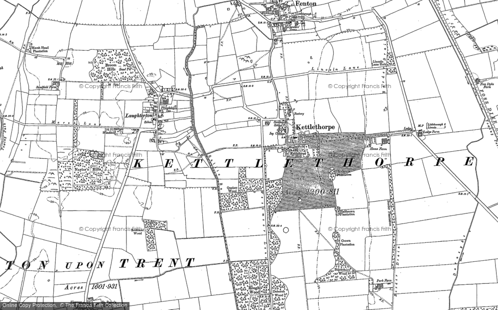 Old Map of Kettlethorpe, 1885 - 1899 in 1885