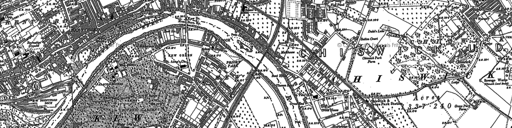 Old map of Kew in 1893