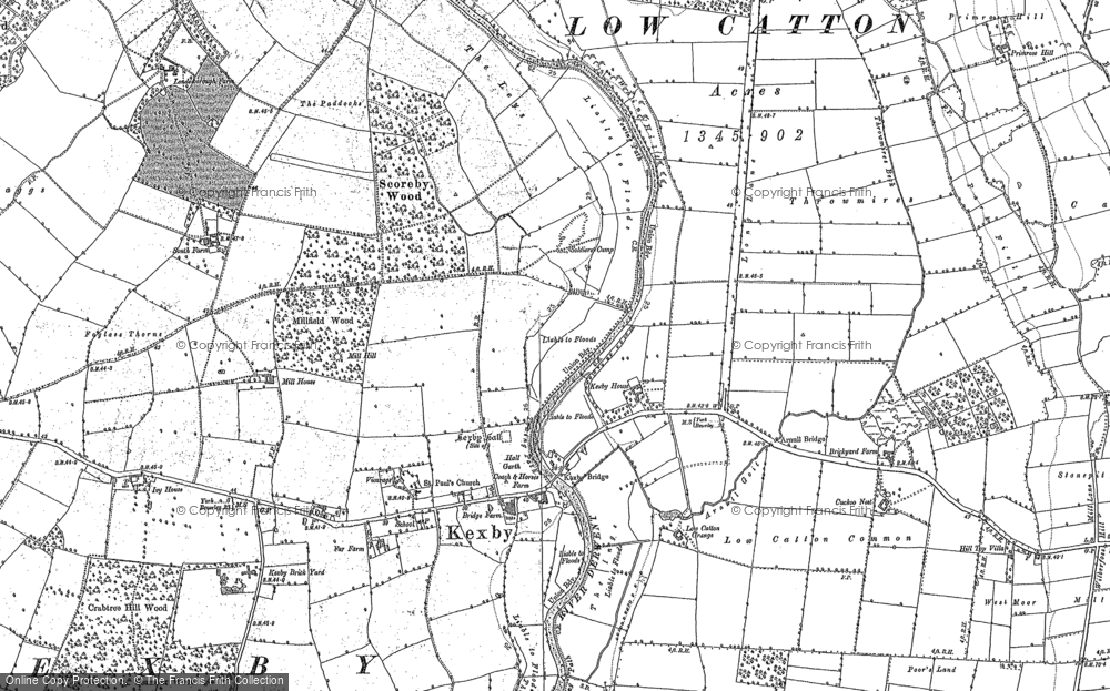 Old Map of Kexby, 1891 in 1891