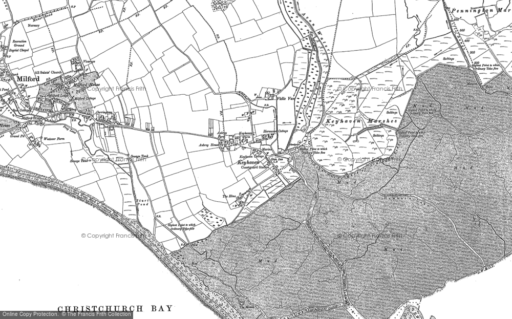 Old Map of Historic Map covering Aubrey Ho in 1907