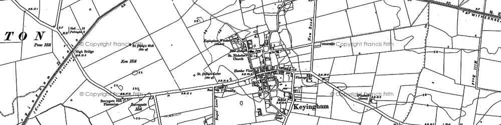 Old map of Keyingham in 1908