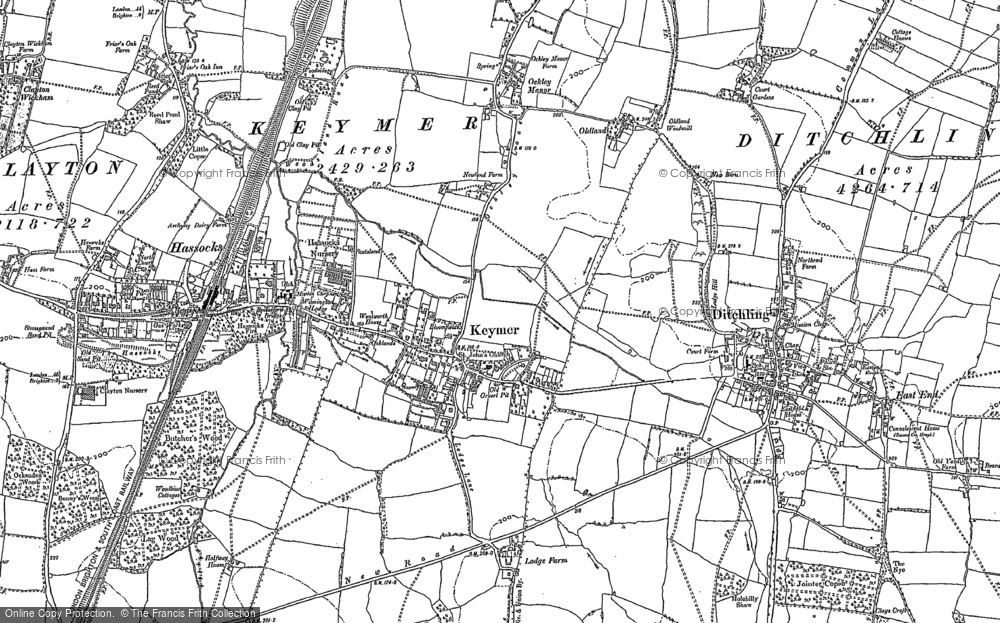 Old Map of Keymer, 1896 - 1897 in 1896