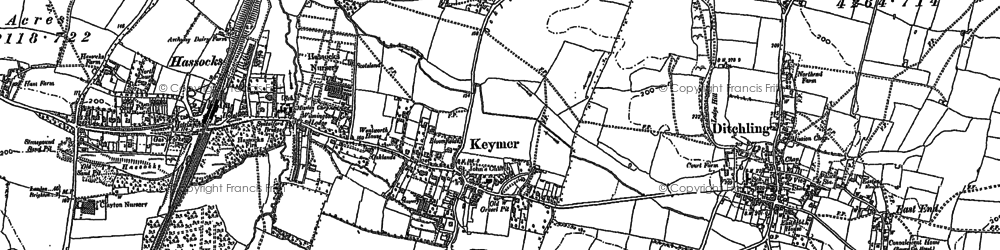 Old map of Keymer in 1896