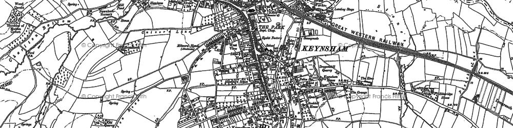 Old map of Keynsham in 1882