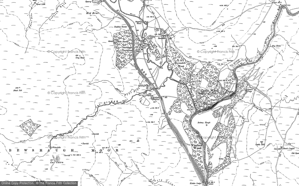 Old Map of Historic Map covering Bakethin Reservoir in 1896