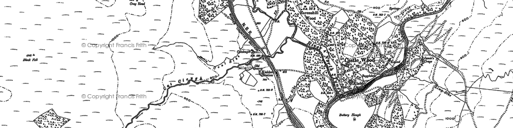 Old map of Bakethin Reservoir in 1896