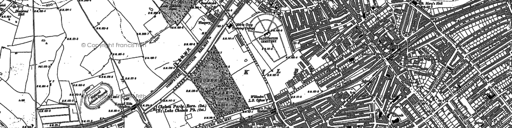 Old map of Westbourne Green in 1894