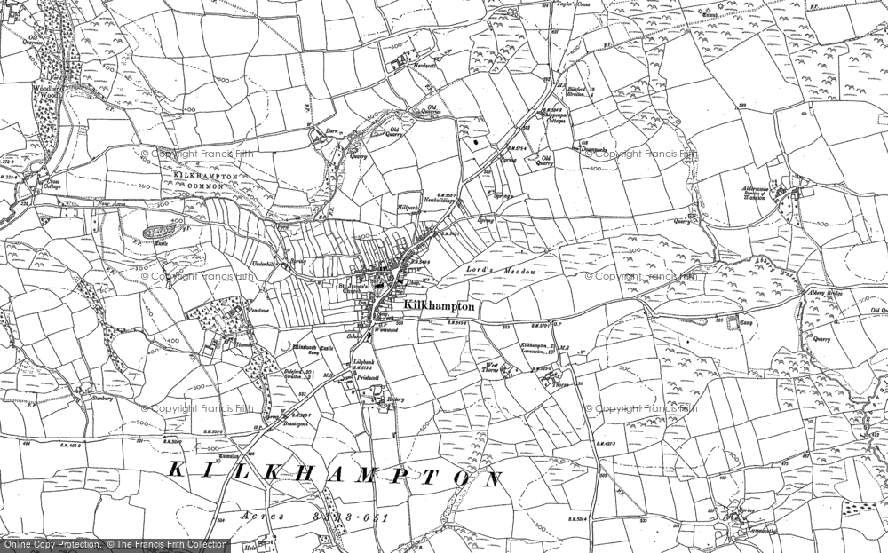 Old Map of Historic Map covering Aldercombe Barton in 1884