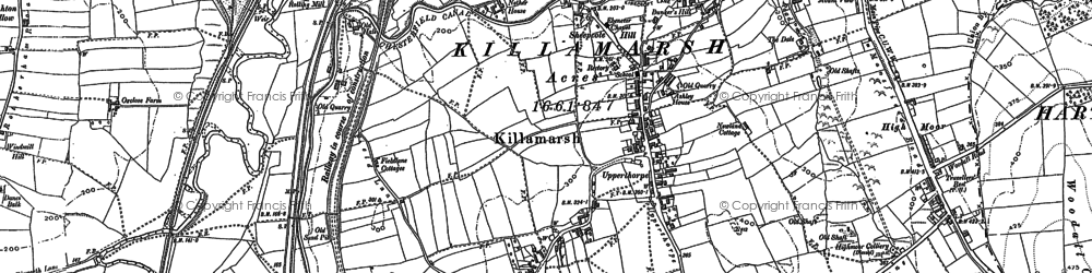 Old map of Killamarsh in 1876