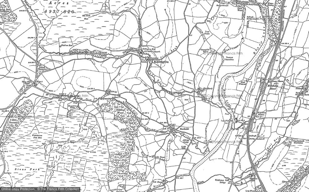Old Map of Historic Map covering Aikrigg in 1896