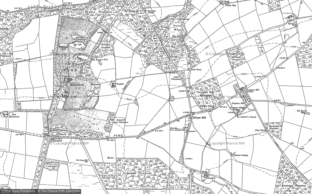 Old Map of Historic Map covering Backworth Letch in 1895