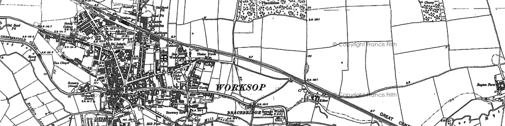 Old map of Worksop College in 1897