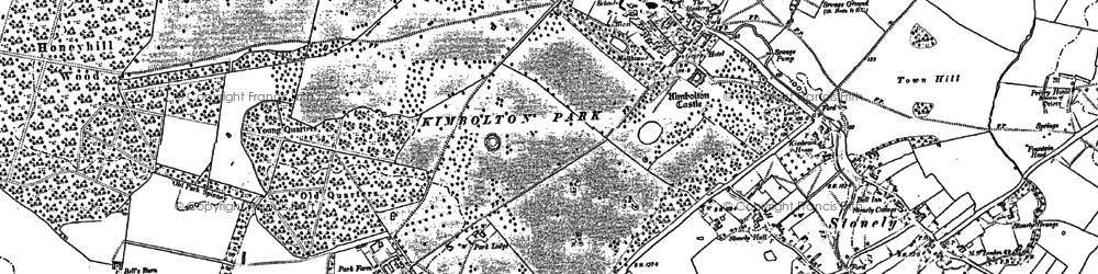 Old map of Kimbolton in 1900