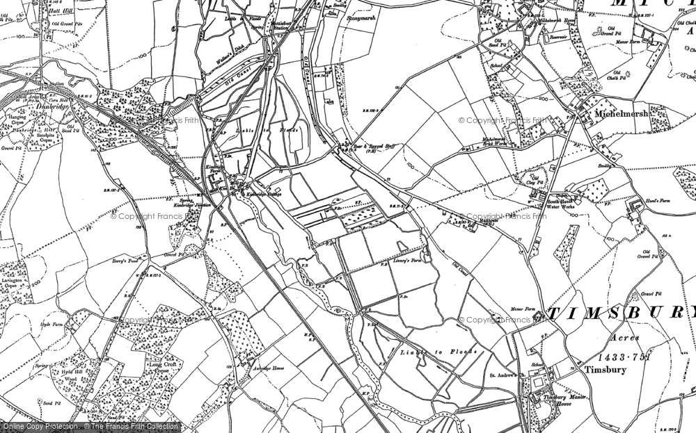 Old Map of Historic Map covering Linhay Meads in 1895
