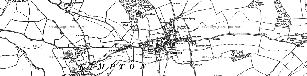 Old map of Kimpton in 1897