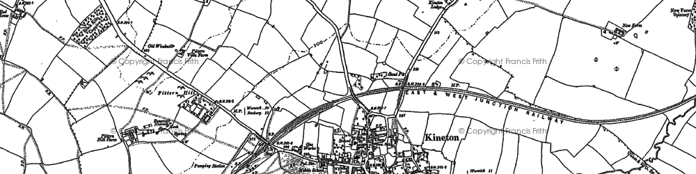 Old map of Kineton in 1885