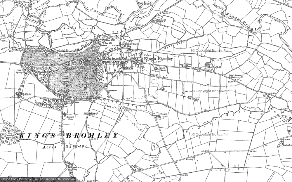 Old Map of Historic Map covering Ashby Sitch in 1882