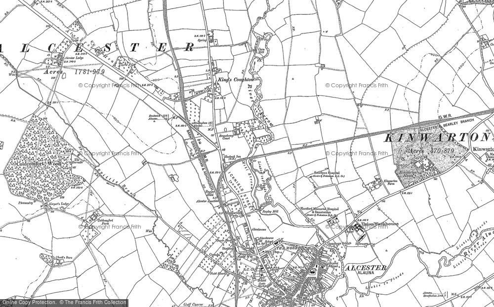 Old Map of Historic Map covering Alcester Lodge in 1885