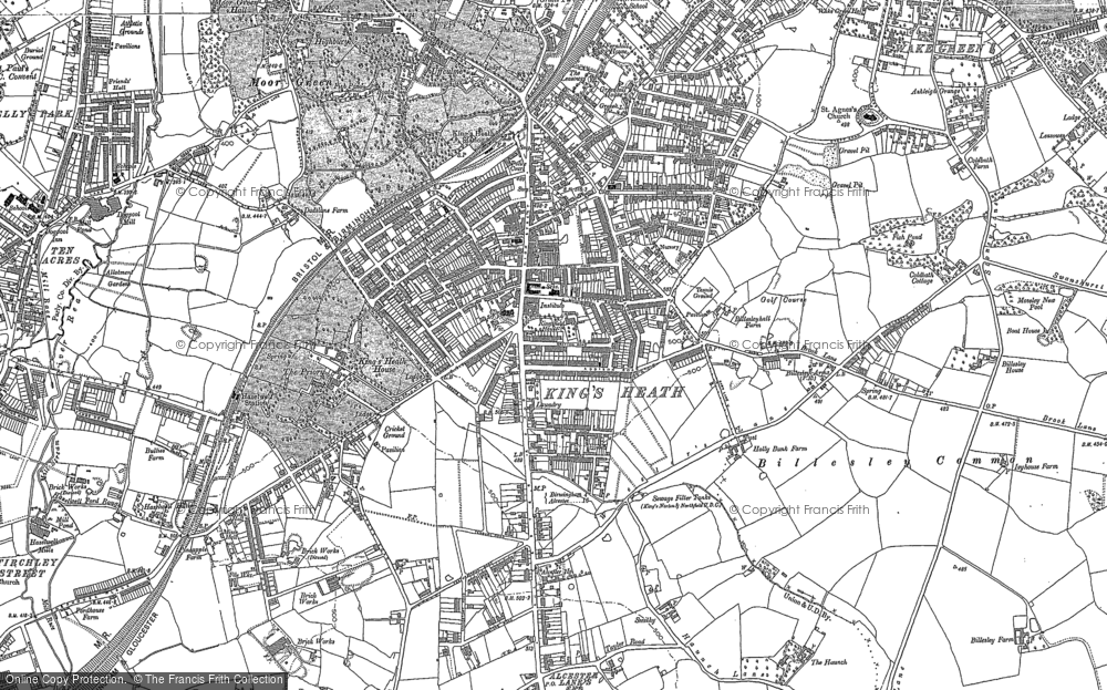 Old Map of Historic Map covering Alcester Lane's End in 1882