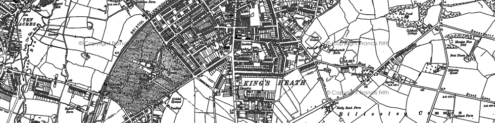 Old map of King's Heath in 1882