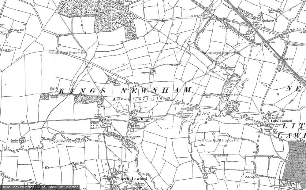 Old Map of Historic Map covering All Oaks Wood in 1886
