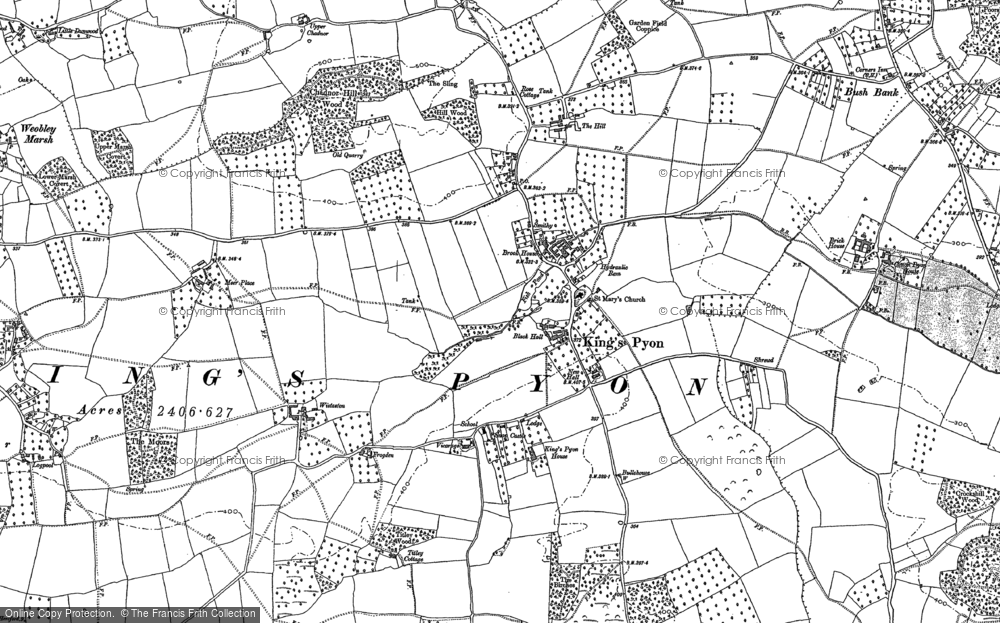 Old Map of Historic Map covering Wootton in 1886