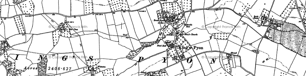Old map of Wistaston in 1886