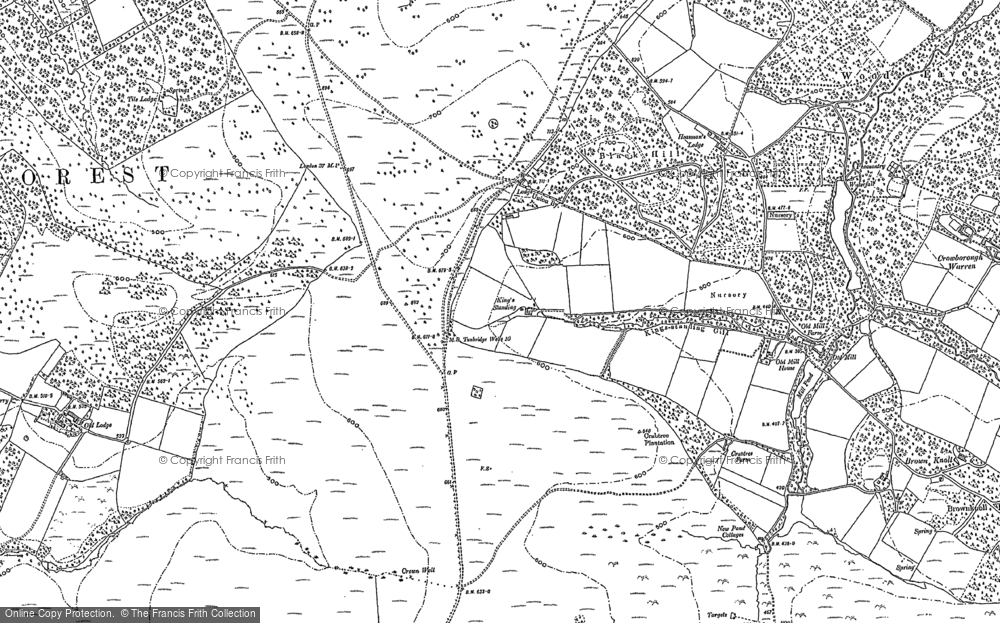 Old Map of Historic Map covering Wood Eaves in 1897