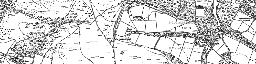 Old map of Wood Eaves in 1897