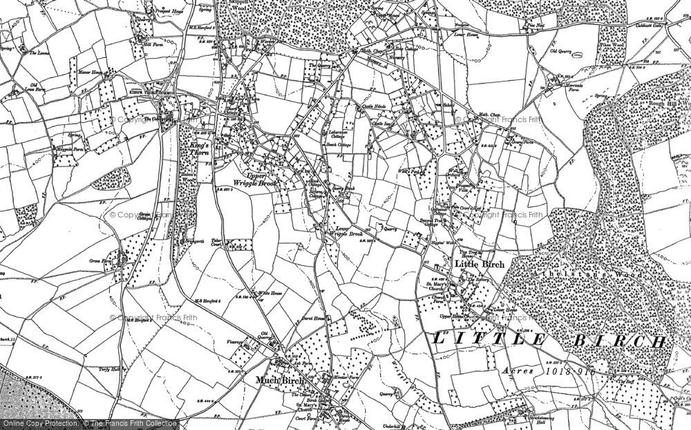 Old Map of Historic Map covering Aconbury Hill in 1886