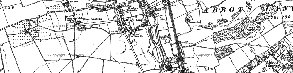 Old map of Kings Langley in 1896