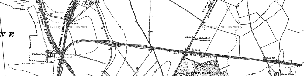 Old map of Kings Worthy in 1895