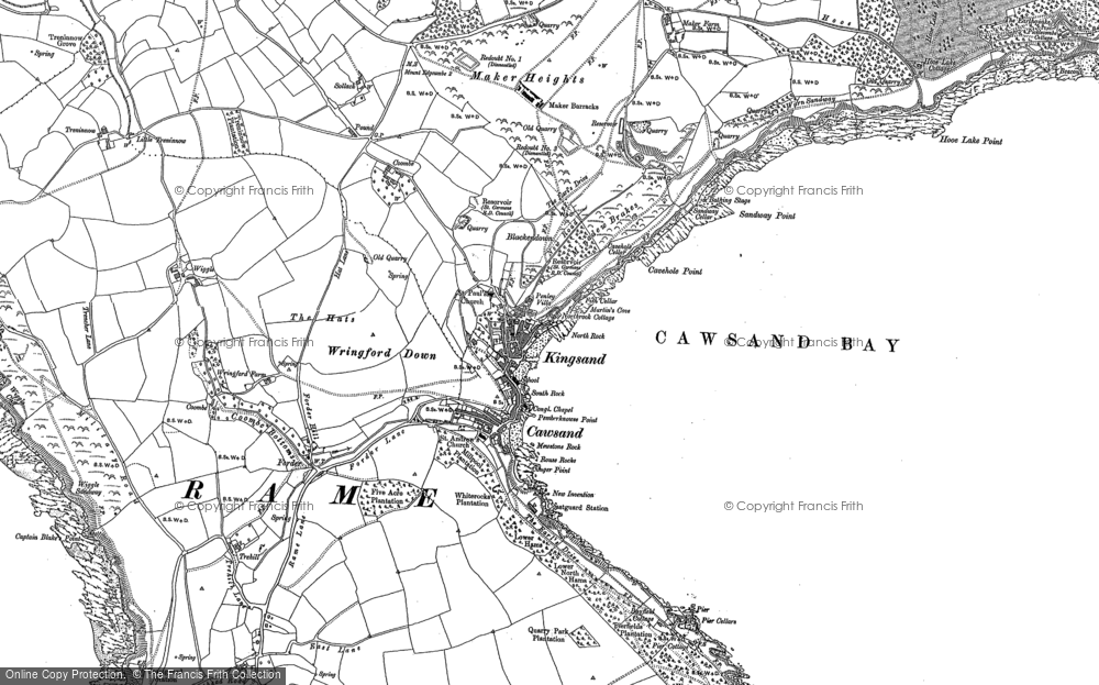 Old Map of Kingsand, 1886 - 1905 in 1886