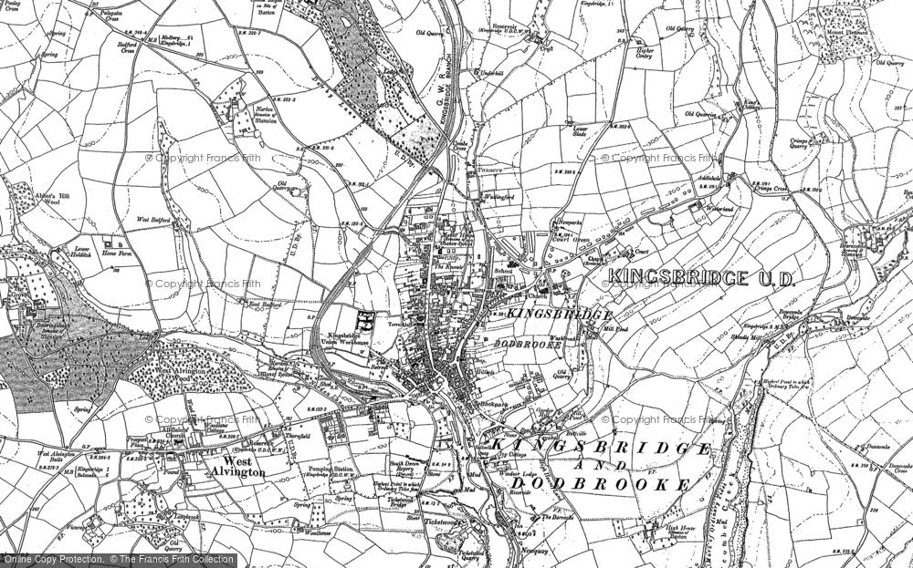 Old Map of Kingsbridge, 1884 - 1905 in 1884