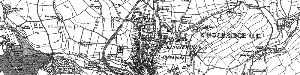 Old map of Kingsbridge in 1884