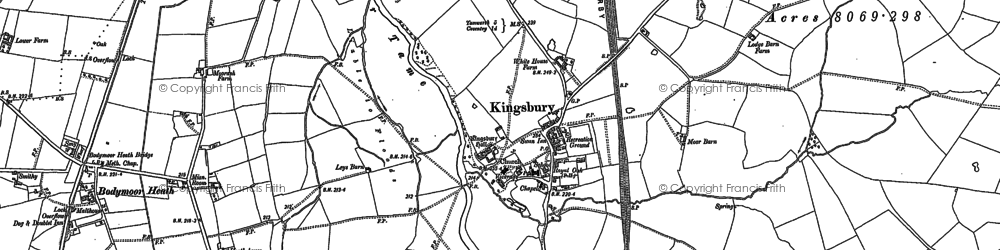 Old map of Kingsbury in 1886