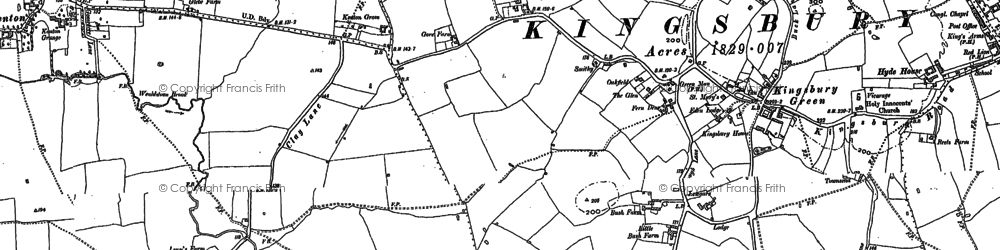 Old map of Kingsbury in 1895