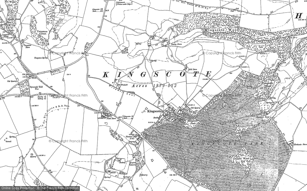Old Map of Historic Map covering Ashel Barn in 1881