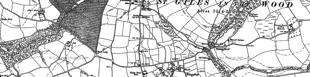Old map of Woolleigh Barton in 1886