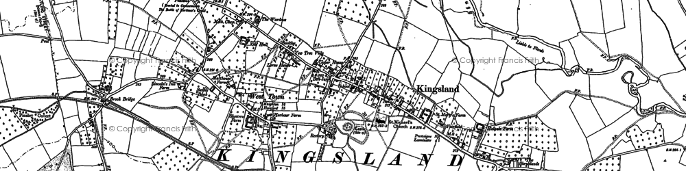 Old map of Kingsland in 1885
