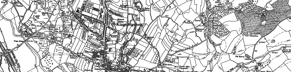 Old map of Kingsteignton in 1887