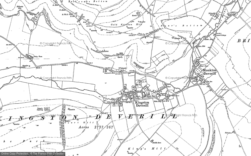 Old Map of Historic Map covering Woodcombe Bottom in 1900