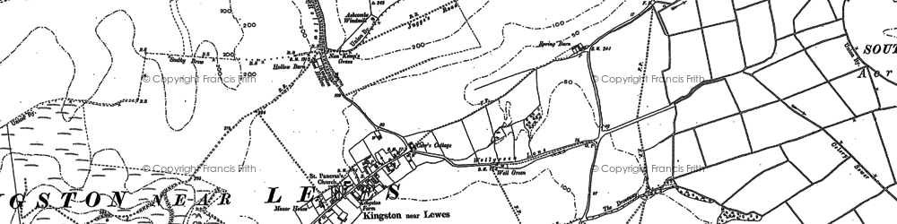 Old map of Kingston near Lewes in 1897