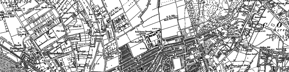 Old map of Kingston Upon Thames in 1895