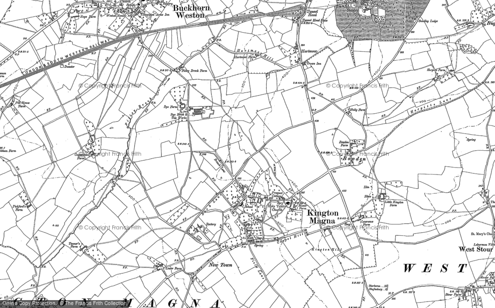 Old Map of Historic Map covering Havering in 1900