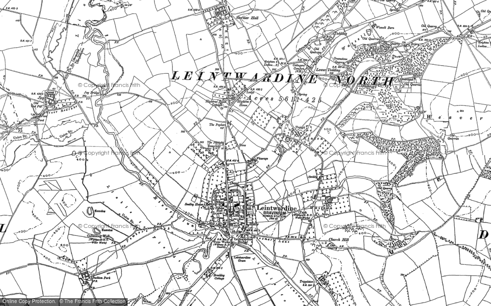 Old Map of Historic Map covering Leintwardine Manor in 1902