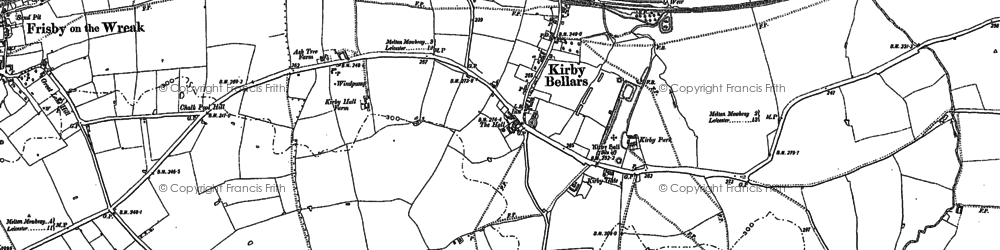 Old map of Kirby Bellars in 1884