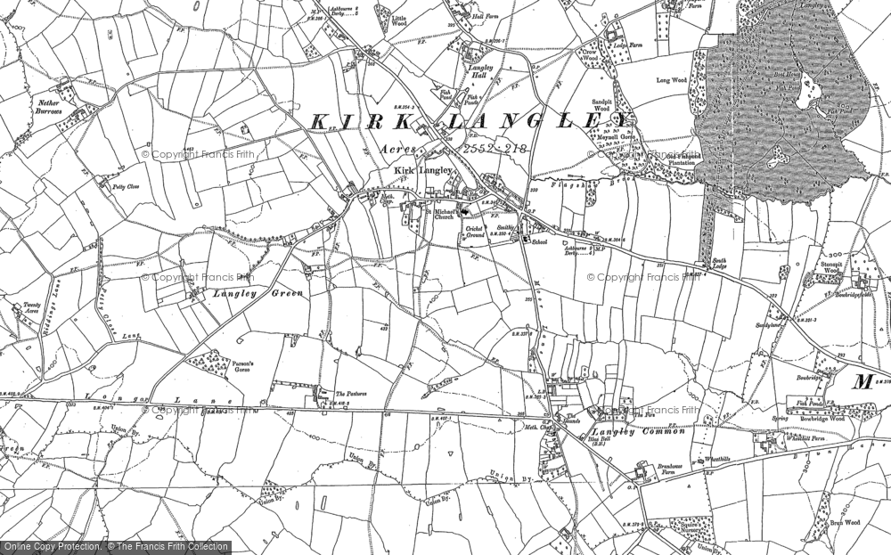 Old Map of Historic Map covering Langley Green in 1881