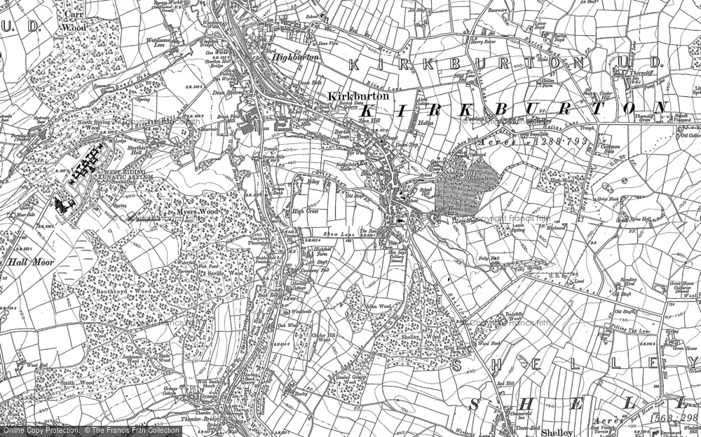 Old Map of Kirkburton, 1888 - 1892 in 1888